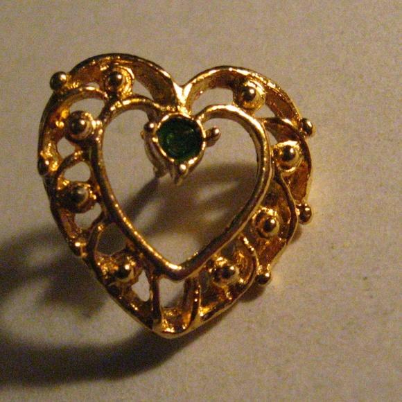 2084f08f6c1 Vintage Jewelry | Gold Heart Emerald Rhinestone Pin Brooch | Poshmark